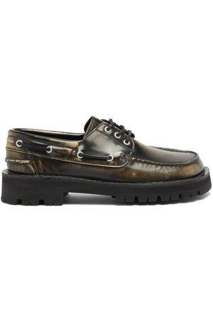 Camper Lab Eki Square-toe Leather Deck Shoes - Mens - Dark