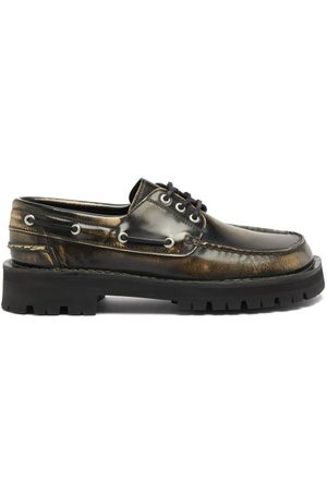 Camper Lab Men Loafers - Eki Square-toe Leather Deck Shoes - Mens - Dark