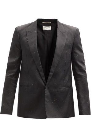 Saint Laurent Single-breasted Speckled-dupion Suit Jacket - Mens