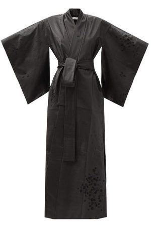 COMMON HOURS Infinity And Time Embroidered Leather Robe - Womens