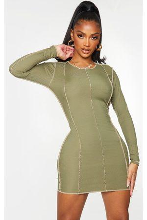 PRETTYLITTLETHING Shape Khaki Rib Overlock Seam Detail Bodycon Dress
