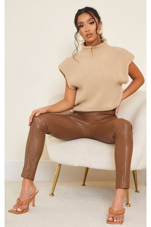 PrettyLittleThing Petite Chocolate Faux Leather Stretch Leggings