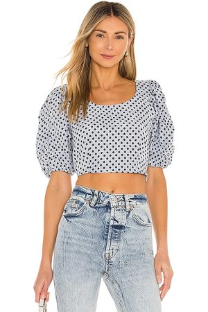 Free People Puff Sleeve Blouse in Baby .