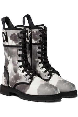 Fendi Logo canvas combat boots