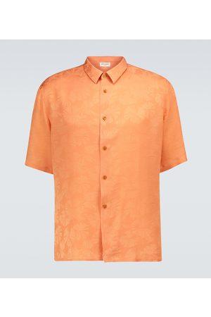 Saint Laurent Men Short sleeves - Short-sleeved floral silk shirt