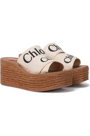 Chloé Women Sandals - Woody canvas platform espadrille sandals