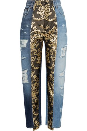 Dolce & Gabbana High-rise brocade straight jeans