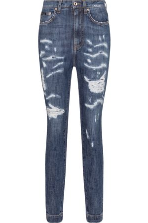 Dolce & Gabbana Women High Waisted - Distressed high-rise skinny jeans