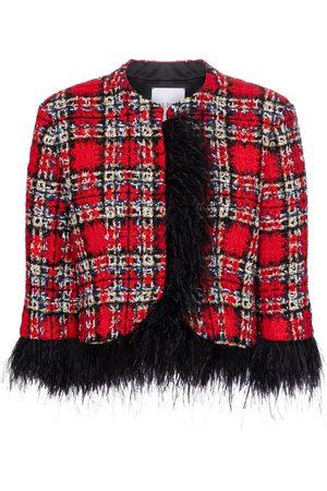 HALPERN Feather-trimmed tartan jacket
