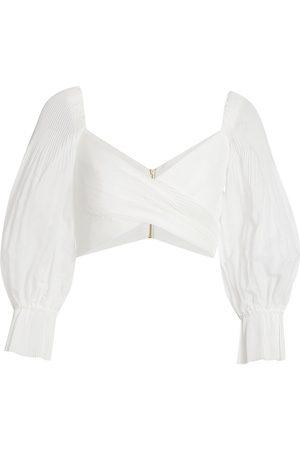 ZIMMERMANN Women Blouses - Women's Wild Botanica Pleated Bodice Blouse - Pearl - Size 6