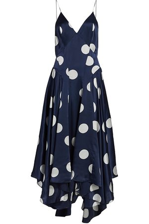 Tove Women's Maren Polka Dot Silk Dress - Navy - Size 4