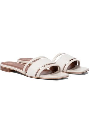 MALONE SOULIERS Demi linen and leather slides