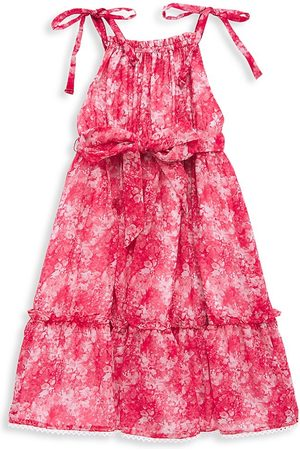 Marchesa Notte Little Girl's and Girl's Tie Strap Printed Chiffon Tiered Dress - Rose - Size 14