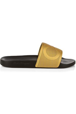 Salvatore Ferragamo Men's Grove Logo Slide Sandals - Oro Vecchi - Size 10