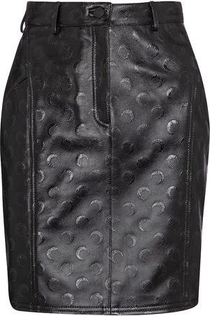 Marine Serre Printed leather miniskirt
