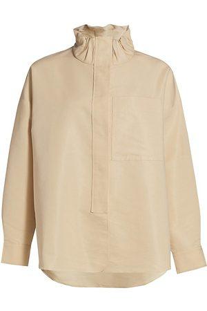 3.1 Phillip Lim Women's Scrunch Funnel Neck Shirt - - Size Large