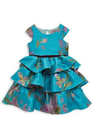 Marchesa Notte Little Girl's Cap Sleeve Printed Brocade Tiered Dress - Aqua - Size 2