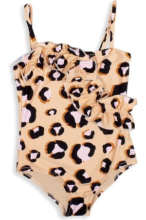 Shade Critters Girl's Ruffle Leopard-Print One-Piece Swimsuit - Honey - Size 6