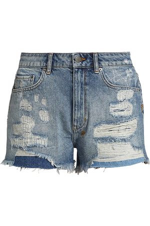 KSUBI Women's Misfit High-Rise Distressed Denim Shorts - Denim - Size 26
