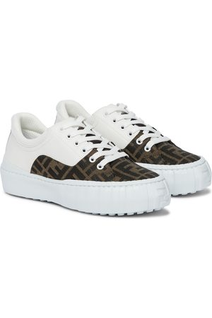 Fendi FF leather and canvas sneakers