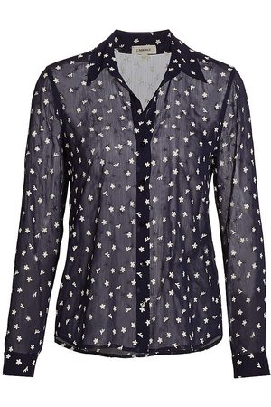 L'Agence Women's Laurent Floral-Embroidered Blouse - Ivory Navy - Size XS
