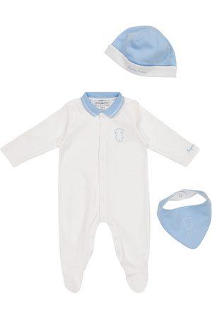 Emporio Armani Baby cotton romper, hat and bib set
