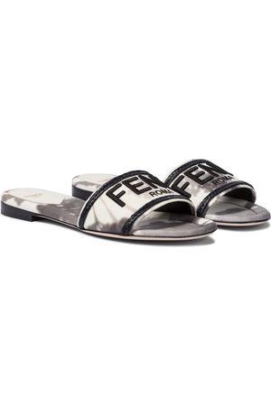 Fendi Logo canvas sandals
