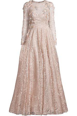 Mac Duggal Women's Floral Appliqué Lace Long-Sleeve A-Line Gown - Mocha - Size 16