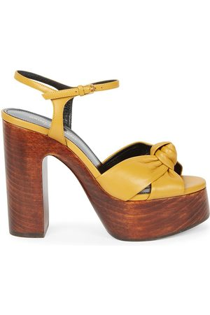 Saint Laurent Women's Bianca Knotted Leather Platform Sandals - Safari Kaki - Size 11