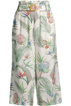 Revel Rey Women Wide Leg Pants - Women's Phoebe Cropped Wide-Leg Pants - Isla Leaf - Size Medium