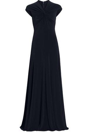 Halston Heritage Women's Scarlet Twist Cap-Sleeve Gown - Ink - Size 8