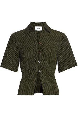 Nanushka Women Short sleeves - Women's Saff Short Sleeve Top - Khaki Check - Size Small
