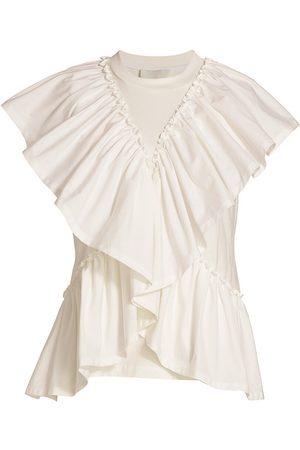 3.1 Phillip Lim Women T-shirts - Women's Butterfly-Ruffle Cotton T-Shirt - Off - Size Large
