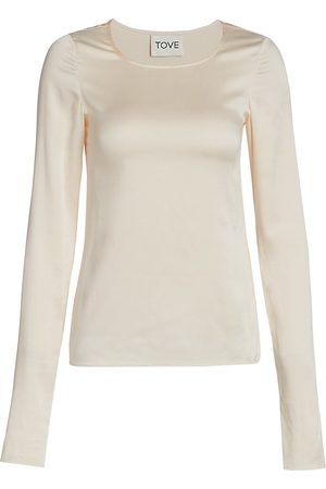 Tove Women's Liya Stretch Silk Long-Sleeve Top - Ivory - Size 8
