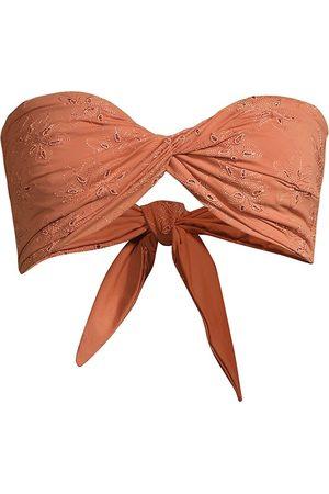 Revel Rey Women's Quinn Bandeau Bikini Top - Tierra Floral Eyelet Sustainable - Size Large