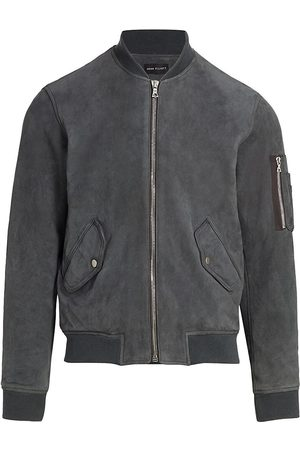 JOHN ELLIOTT Men Leather Jackets - Men's Leather Bomber Jacket - Charcoal Suede - Size Large