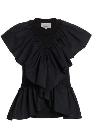 3.1 Phillip Lim Women T-shirts - Women's Butterfly-Ruffle Cotton T-Shirt - - Size XS