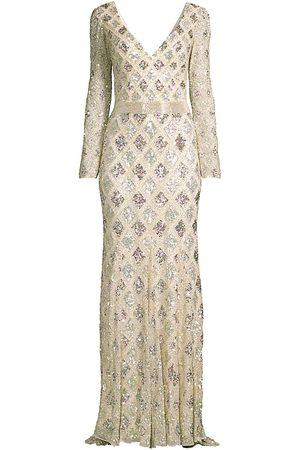 Mac Duggal Women Evening dresses - Women's Lattice Sequin Long-Sleeve Gown - Nude - Size 16