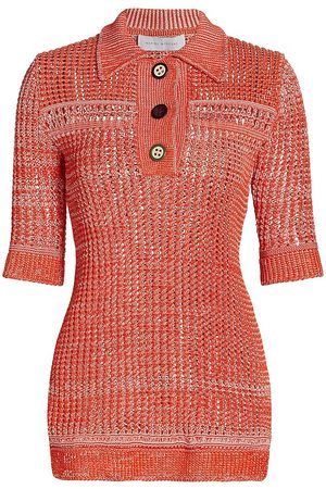Marina Moscone Women's Crochet Polo Knit Top - Blush Coral - Size Small