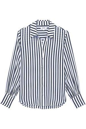 L'Agence Women's Jess Striped Blouse - Ivory Navy - Size Large