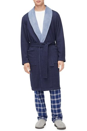 UGG Men's Heritage Comfort Robinson Double-Knit Robe - Navy Heather - Size Large/XL