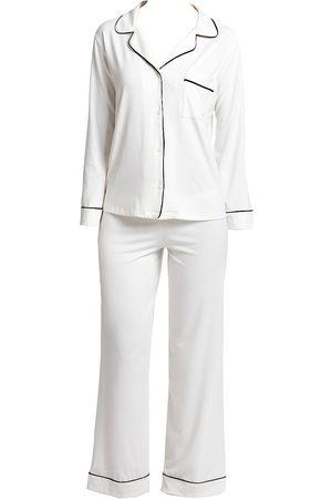 Eberjey Women's Gisele Long Pajama Set - Ivory Navy - Size XS