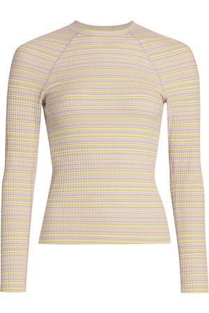 STINE GOYA Women's Joy Samara Striped Rib Jersey Top - Iris Stripes - Size XL