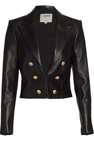 L'Agence Women's Inez Cropped Leather Blazer - - Size 10