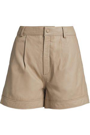 Gestuz Women's NioaGZ High-Rise Leather Shorts - Pure Cashmere - Size 4