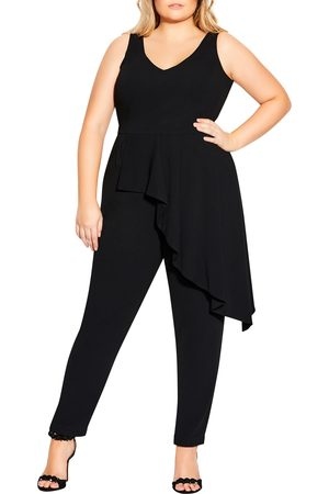 City Chic Plus Size Women's Sleeveless Ruffle Overlay Jumpsuit