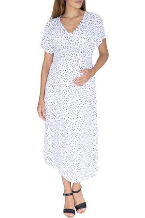 Angel Maternity Women's Polka Dot Empire Waist Maternity/nursing Dress