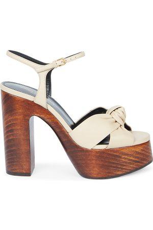 Saint Laurent Women's Bianca Knotted Leather Platform Sandals - Cotton - Size 11.5