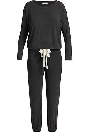 Eberjey Women Pajamas - Women's Gisele 2-Piece Slouchy Pajama Set - Charcoal Heather Ivory - Size XL
