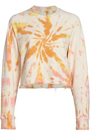 Mother Women's The Loafer Crop Fray Tie-Dye Sweatshirt - Coral Haze Lemon - Size Medium